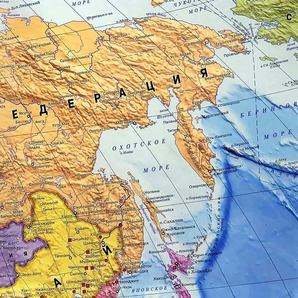 карта Охотского моря и Сахалина