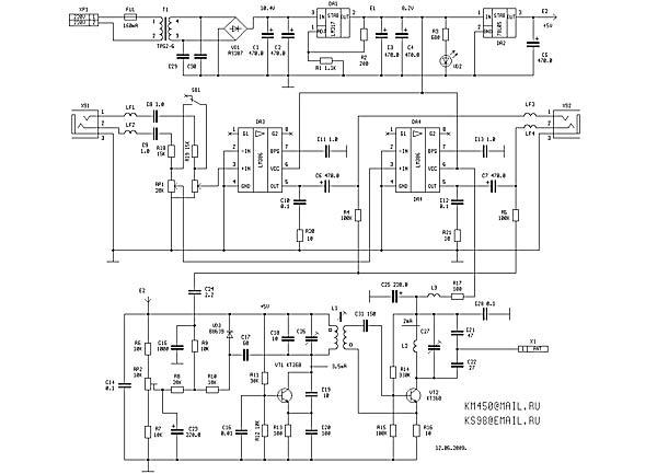 Рис 1. Принципиальная схема передатчика.