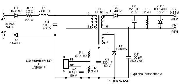 Зарядное устройство 2W на базе микросхемы серии LinkSwitch-LP.