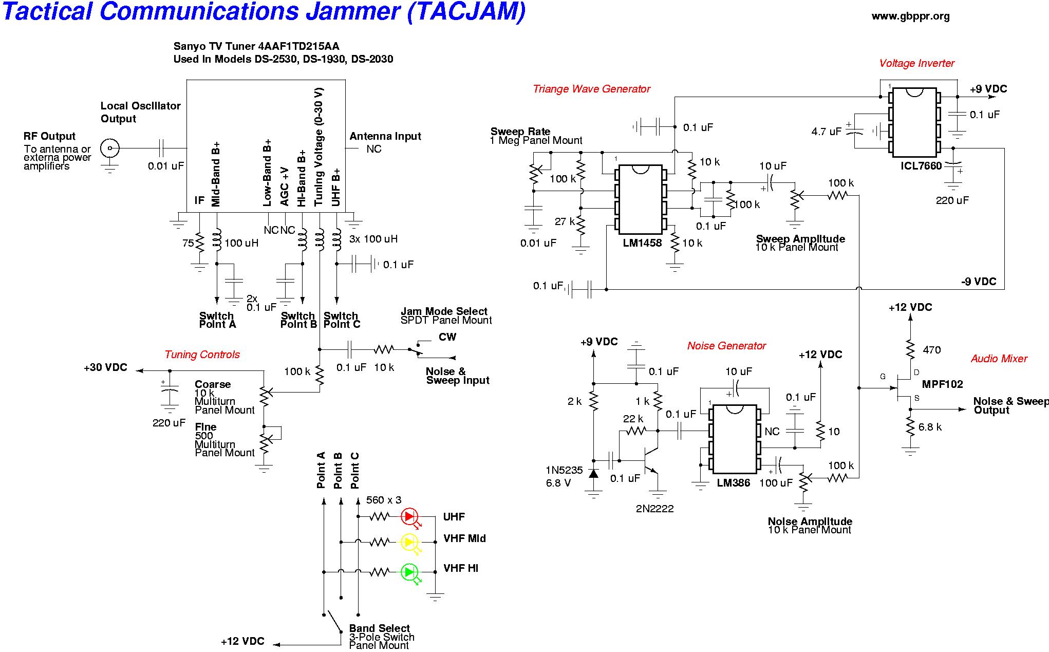 Схема подавителя сигнала TV и радио FM.  Прибор представляет из себя широкополосный шумовой генератор...