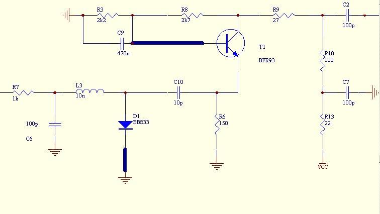 Все соединения заземлены через конденсаторы 100 пФ.  Частота колебаний генератора определяется индуктивностью L3...