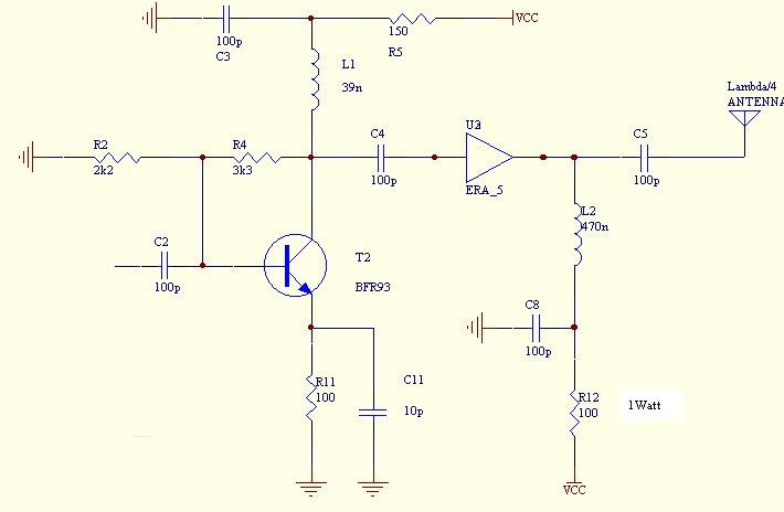 Часть схемы на транзисторе T2
