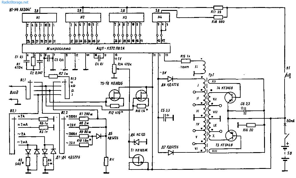 Описание и принципиальная схема мультиметра M838
