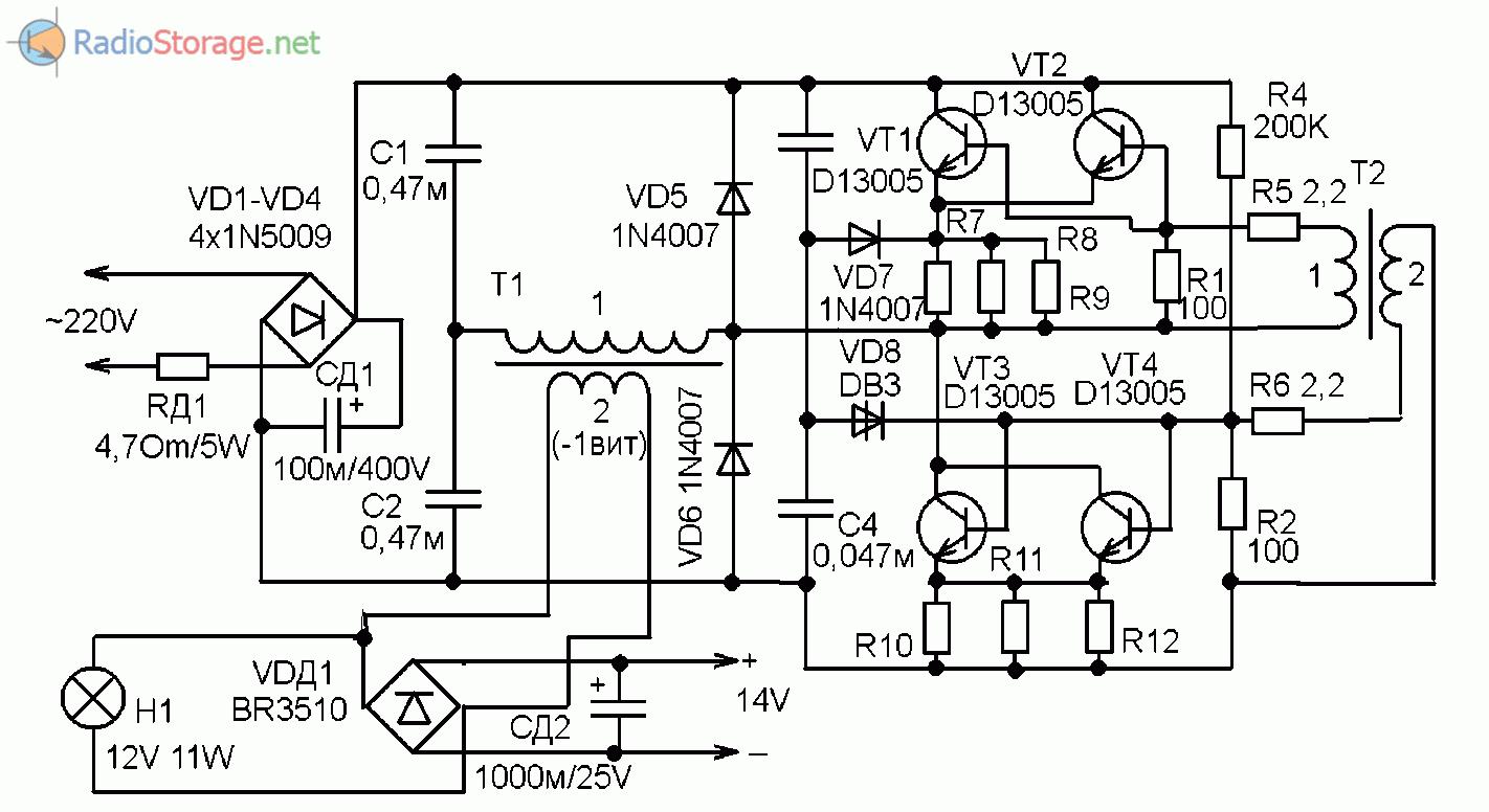 электронный трансформатор 12в схема и описание