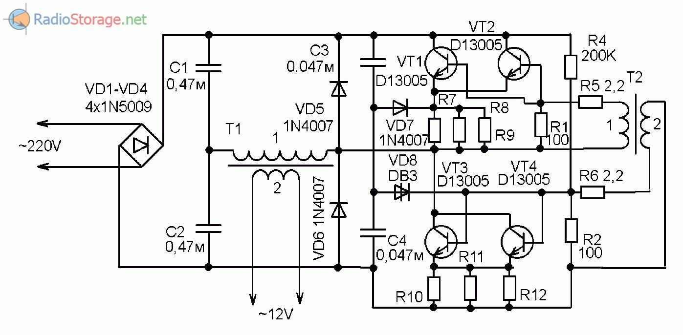 трансформатор для галогенных ламп принципиальная схема