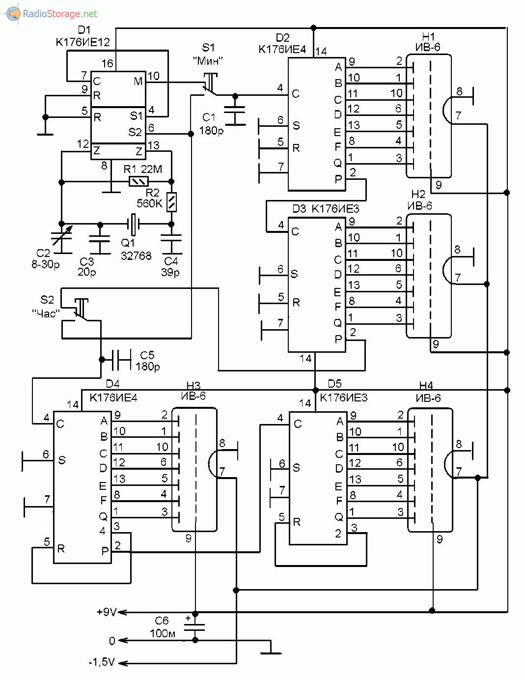 Микросхемы серии К176. Схема, описание