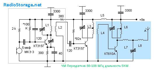 Схема передатчика 88 108мгц