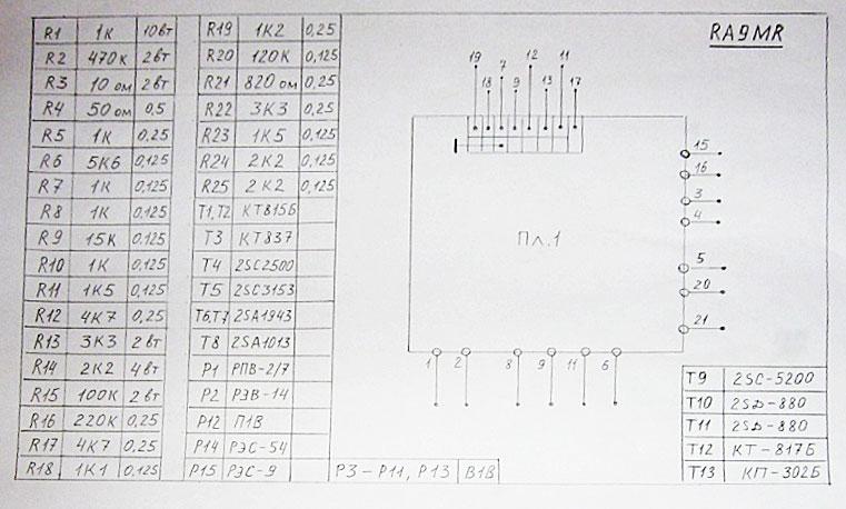 Таблица радиодеталей