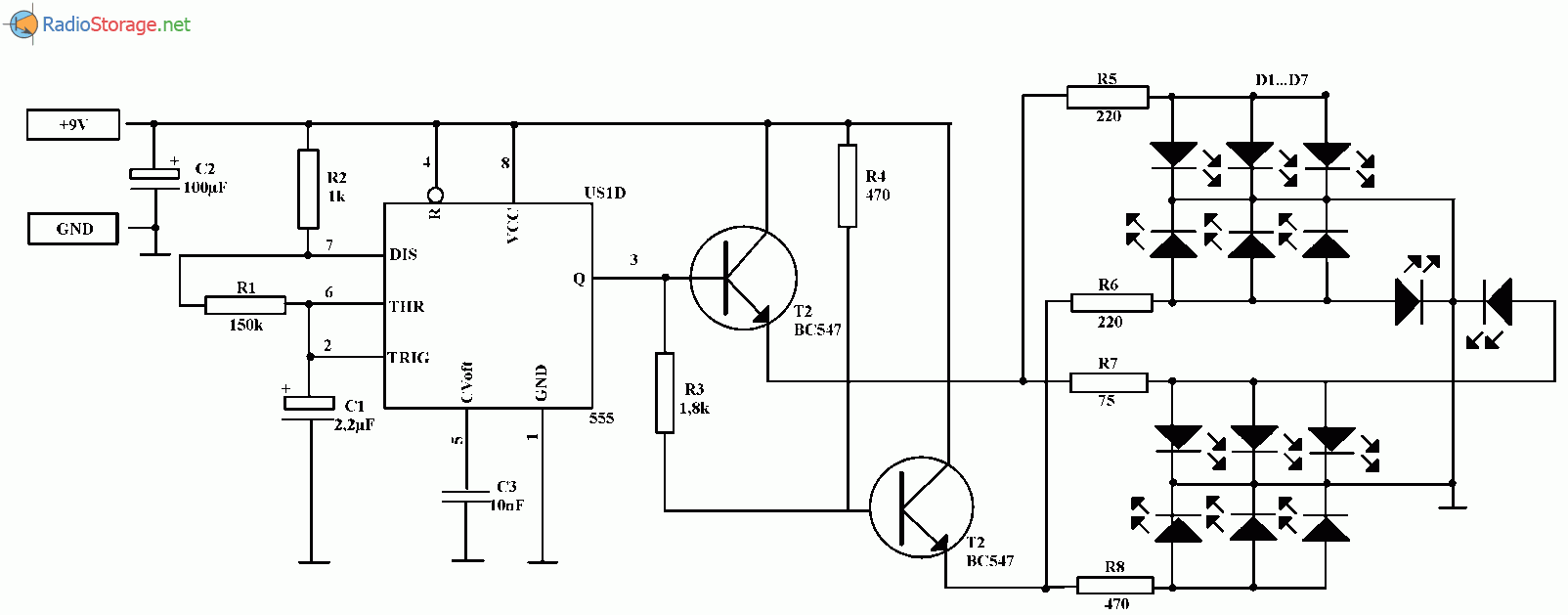 Двухцветная мигалка на светодиодах (NE555): http://www.qrz.ru/schemes/contribute/beginners/dvuhcvetnaa_migalka_na_svetodiodah_ne555.html