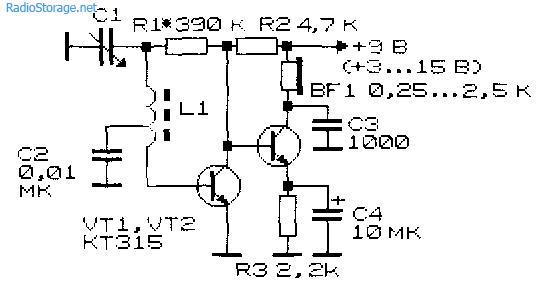 Схема простого приемника прямого усиления на транзисторах Схема - Простой приёмник прямого усиления на УКВ